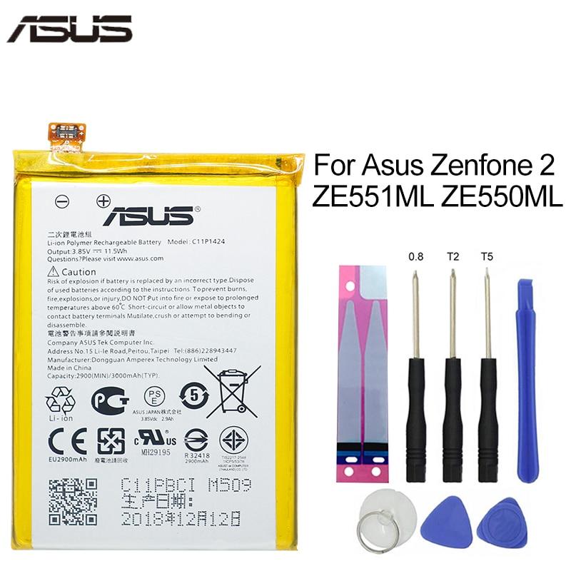 ASUS Original Replacement Phone Battery C11P1424 3000mAh For Asus ZenFone 2 ZE551ML ZE550ML Z00AD Z00ADB Z00A Z008D Free Tools