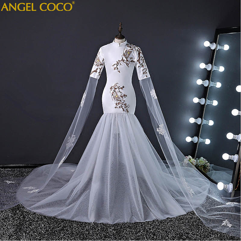 Disfraz De Carnaval para niños vestidos para niñas vestidos De graduación 2018 vestido De novia para niños sirena Cheongsam traje De Soiree chino