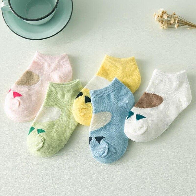 5 Pair Cute Newborn Child Cotton Breathable Baby Cartoon Animal BearS Paw Short Sock Low Help Boat Socks Boy Girl Kids Gifts