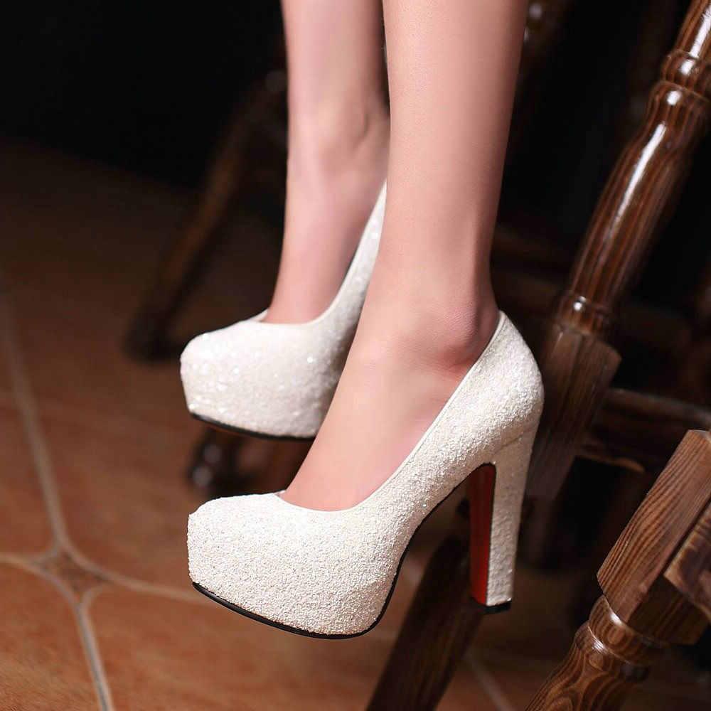 Bayanlar Yüksek Topuklu Platform Kadın Ayakkabı Pompaları Parti Düğün Gelin Blok Topuk Ayakkabı Altın Beyaz Kırmızı Siyah Mavi Topuklu Kadın 2019