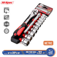 Hi Spec 15pc 3/8 72T Socket Wrench CR V Torque Wrench Spanner Set 8 22mm Socket Set with Ratchet Wrench Set Auto Repair Tools