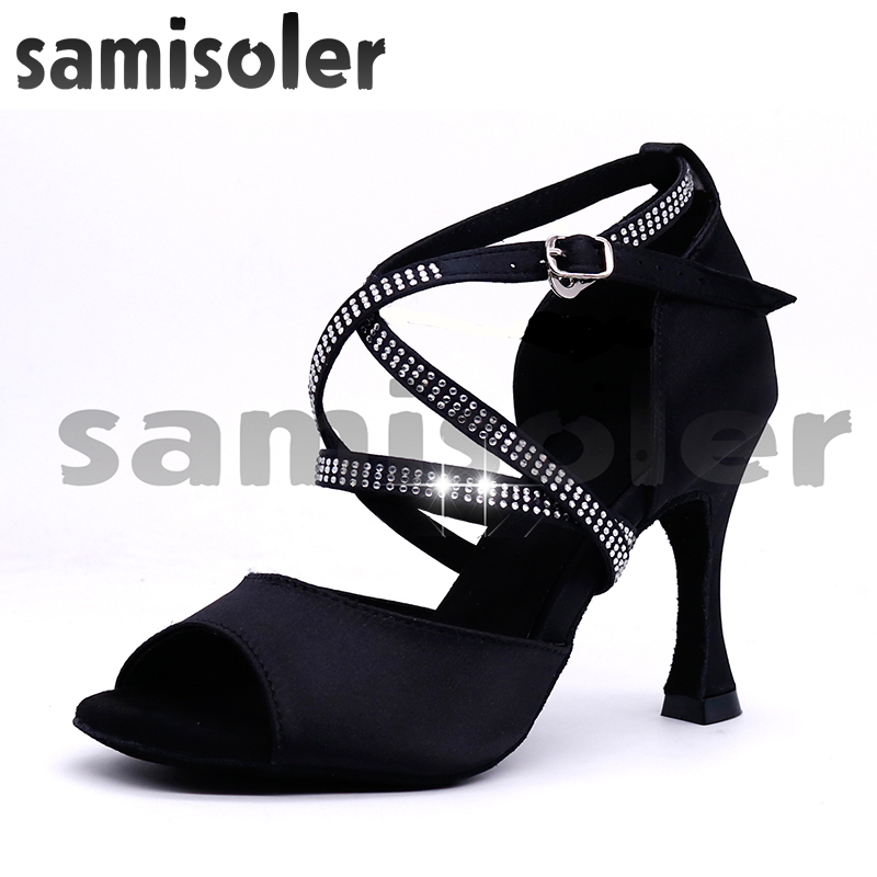 Samisoler Satin Style Ballroom Dance Shoes Women With Black Party Ladieslatin Dance Shoes Black Women Latin Dance Shoes