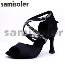 Samisoler saten stil balo salonu dans ayakkabıları kadın siyah parti ladieslatin dans ayakkabıları siyah kadın Latin dans ayakkabıları
