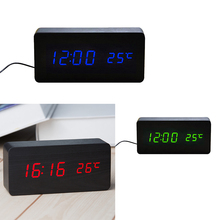 Wooden LED Alarm Clocks Temperature Electronic Clock Sounds Control Digital LED Display Desktop Calendar Table clock стоимость