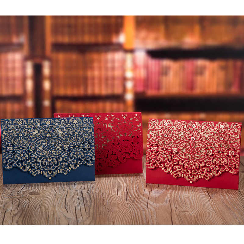 1pcs Gold Red White Laser Cut Luxury Flora Wedding Invitations Card Elegant Lace Favor Print Envelopes Wedding Party Decoration