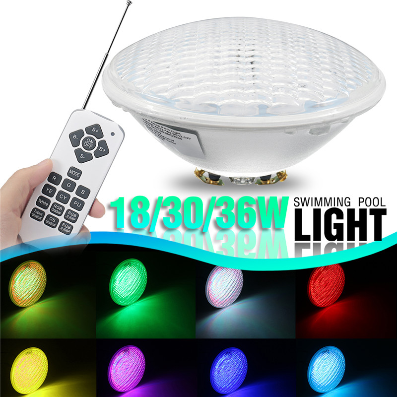 18/30/36W RGB Underwater Swimming Pool Lamp Color Changing Wall Mounted Waterproof IP68 Submersible Light with Remote Controller