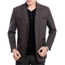 2016 hohe Qualität Neue winter 50% wollmischung Blazer Männer Casual Outwear Schlank Partei Business Männer anzug Schwarz grau plus größe XXXL