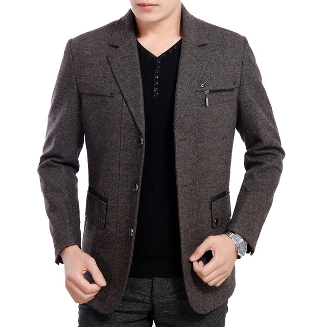2016 High Quality New winter 50% Wool blend Blazer Men Casual Outwear Slim Party Business Men suit Black gray plus size XXXL