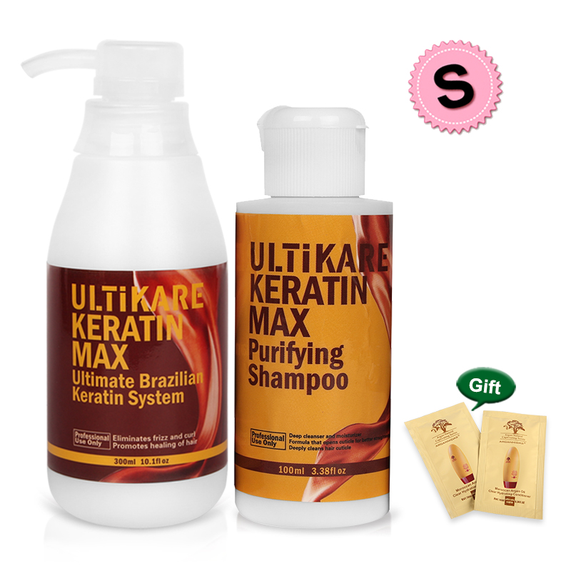 Professional 300ml Brazilian Keratin+100ml Purifying Shampoo Straighten Hair Care Set Repair Damaged Cruly Hair With Free Gifts