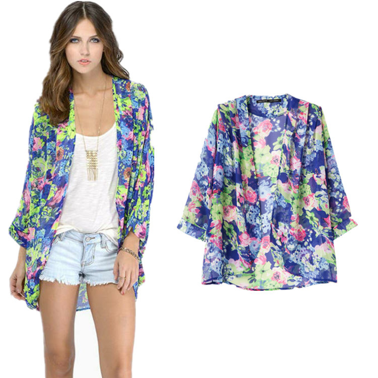 Europe 2015 New spring and summer flower prints beach chiffon ...