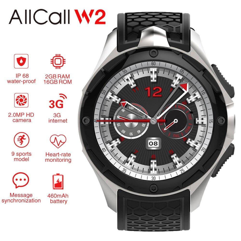 ALLCALL W2 3G Smart Watch Phone 16GB+2GB 2MP Camera 1.39 Inch AMOLED Screen Nano SIM WIFI BT4.0 GPS Watch Sports Smartwatch Men-in Smart Watches from Consumer Electronics    1