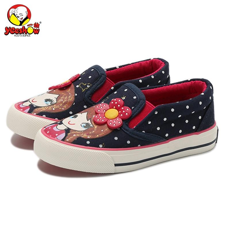 Girls Canvas Shoes 2017 New Autumn Children Flats Polka Dot Fashion Kids Sneakers Denim Girls Princess Shoes Casual Footwear