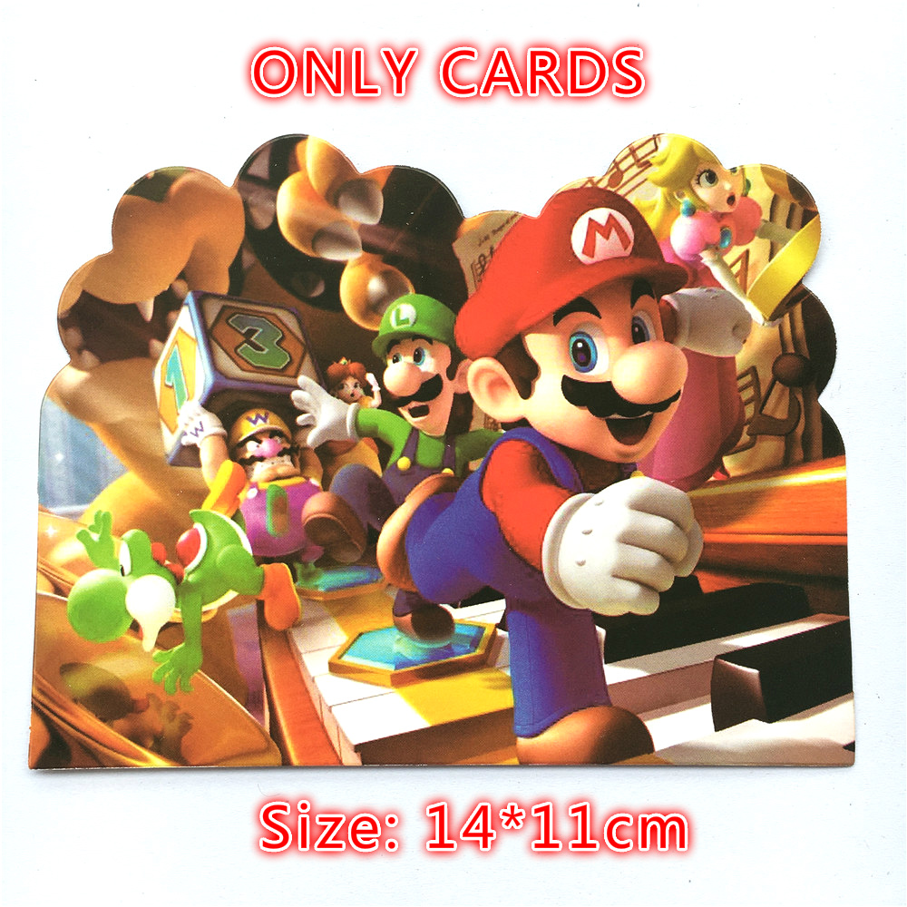 10pcs Super Mario Theme Paper Invitation Cards For Kids Birthday