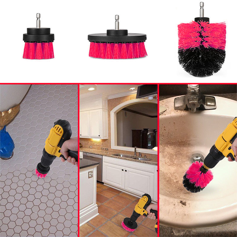 3 Pcs/Set Drill Brush Kit Tub Cleaner Scrubber Cleaning Tool Brushes for Tile Grout Car Boat RV HG99