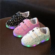 2017 Spring Autumn Kids Shoes Boys Girls LED lighted Sneakers Children's Casual Canvas Shoes Shiny Stars Soft Fashion