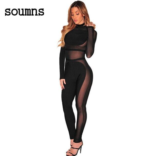 Hot 2017 vrouwen sexy lange mouwen totale transparante bodysuit preto sheer malha insert bandage jumpsuit 64248