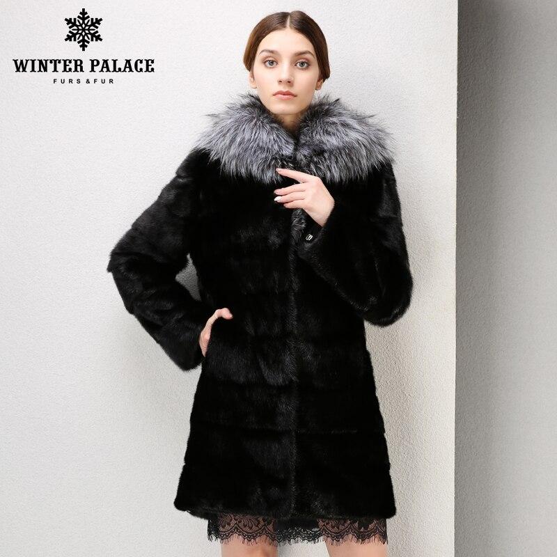 Mode Noir grand renard col de fourrure manteau de fourrure populaire styles vison manteau de fourrure Véritable En Cuir d'hiver veste femmes De Mode Mince fourrure