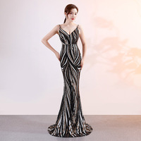 Black And White Striped Spaghetti Strap V Neck Long Mermaid Sexy Sequin Dress Party Elegant Luxury Dresses
