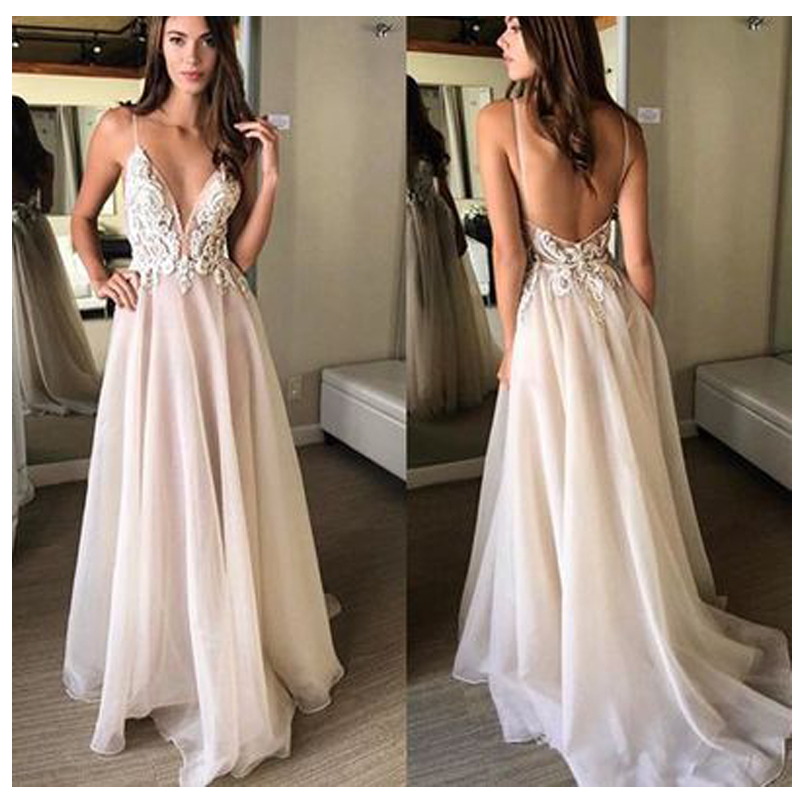 Beach Wedding Dress 2019 Pink Spaghetti Straps with Delicate Appliques Sexy Bride Dress Backless Vestido De
