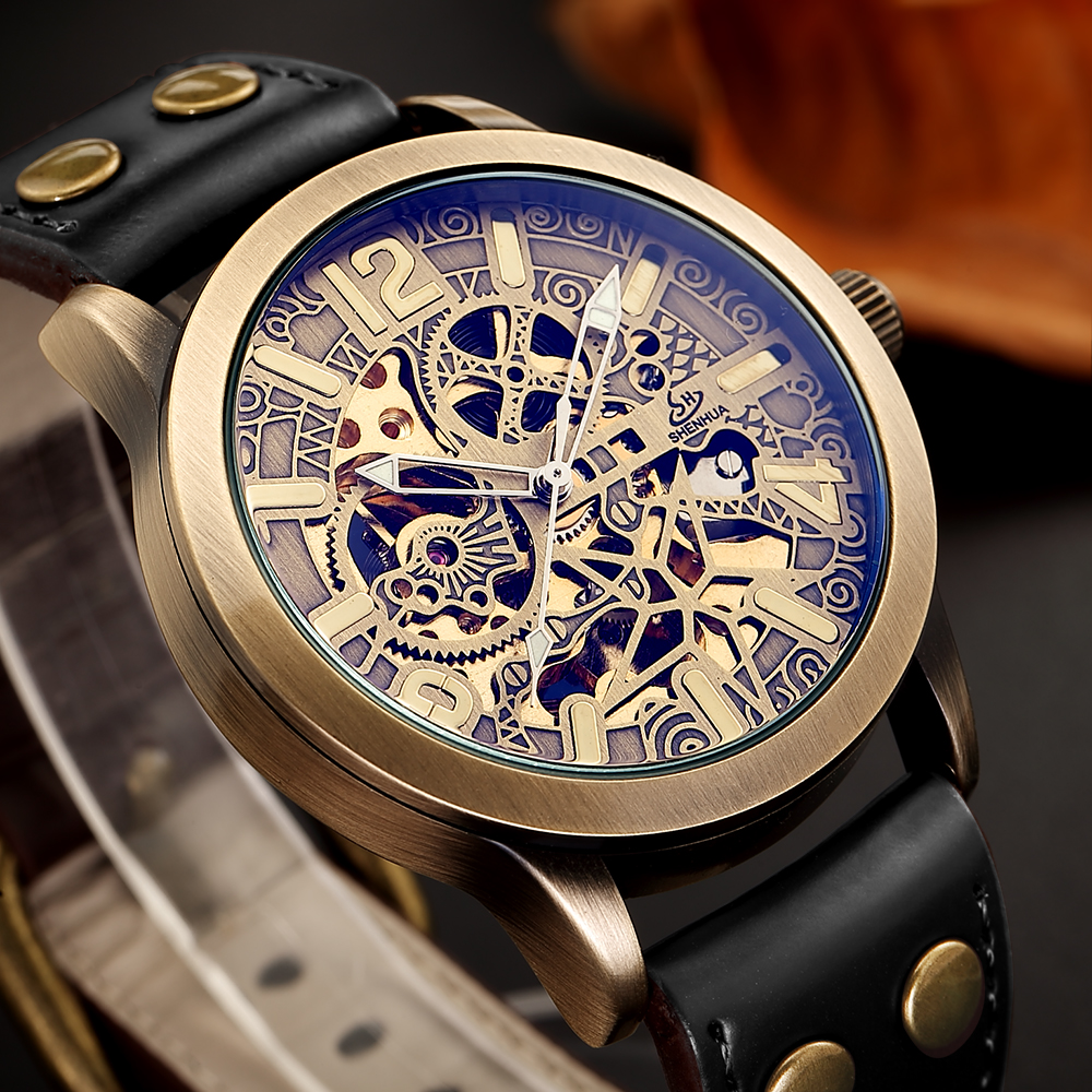 Luxury Top Brand Mechanical Watch Men Vintage Bronze Skeleton Hollow Fashion Wrist automatic Watches for Male Clock montre homme new mechanical hollow watches men top brand luxury shenhua flywheel automatic skeleton watch men tourbillon wrist watch for men