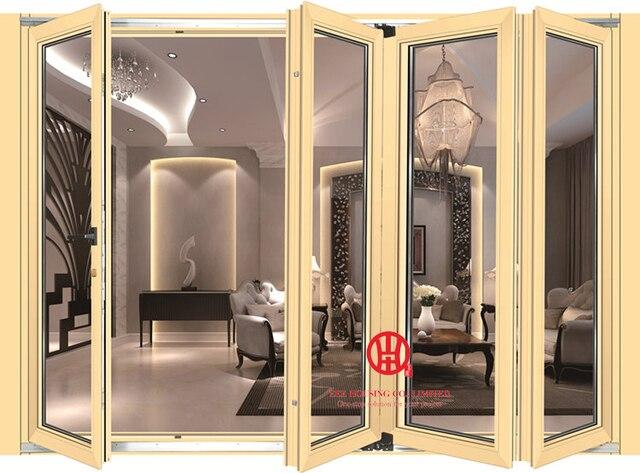 Luxury Hotel Aluminum Front Door Exterior Waterproof Gl Bifold Folding Decorative Grill Design Fold
