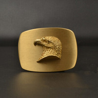 Retail Latest Styles Solid Brass 3D Eagle Head Cowboy Belt Buckle With Fashion Man Jeans Accessories