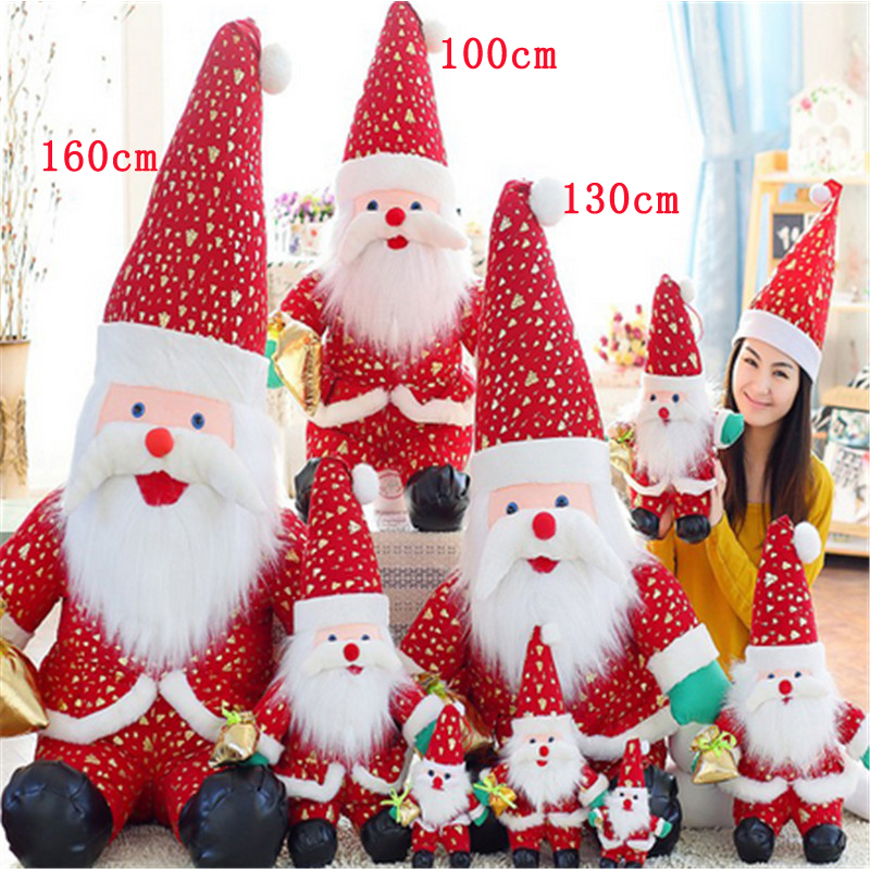 Fancytrader Biggest Giant Plush Gloden-plating Santa Claus Toy Soft Stuffed Large Great Christmas Gift Decoration Doll