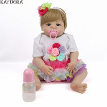 KAYDORA 22 inch 55cm Full Body Silicone Reborn Baby Dolls Alive Lifelike Real Dolls Adorable Realistic Girl Toys Xmas Gift