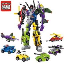 ENLIGHTEN Transformation Robot Figures Building Legoes Bricks Enlighten Mecha 6in1 Building Blocks Action Toys For Children Gift цены