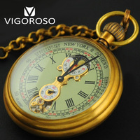 High Quality Genuine Pure Copper Antique 1882 Vintage Mechanical Pocket Watch Hand Wind Up Moon Phase