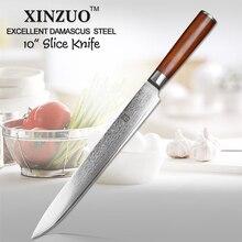 2017 Excelente 10Cr15CoMoV XINZUO 10 pulgadas cleaver cuchillos de acero de Damasco cuchillo de cocina mango de madera pakka sashimi Envío gratis