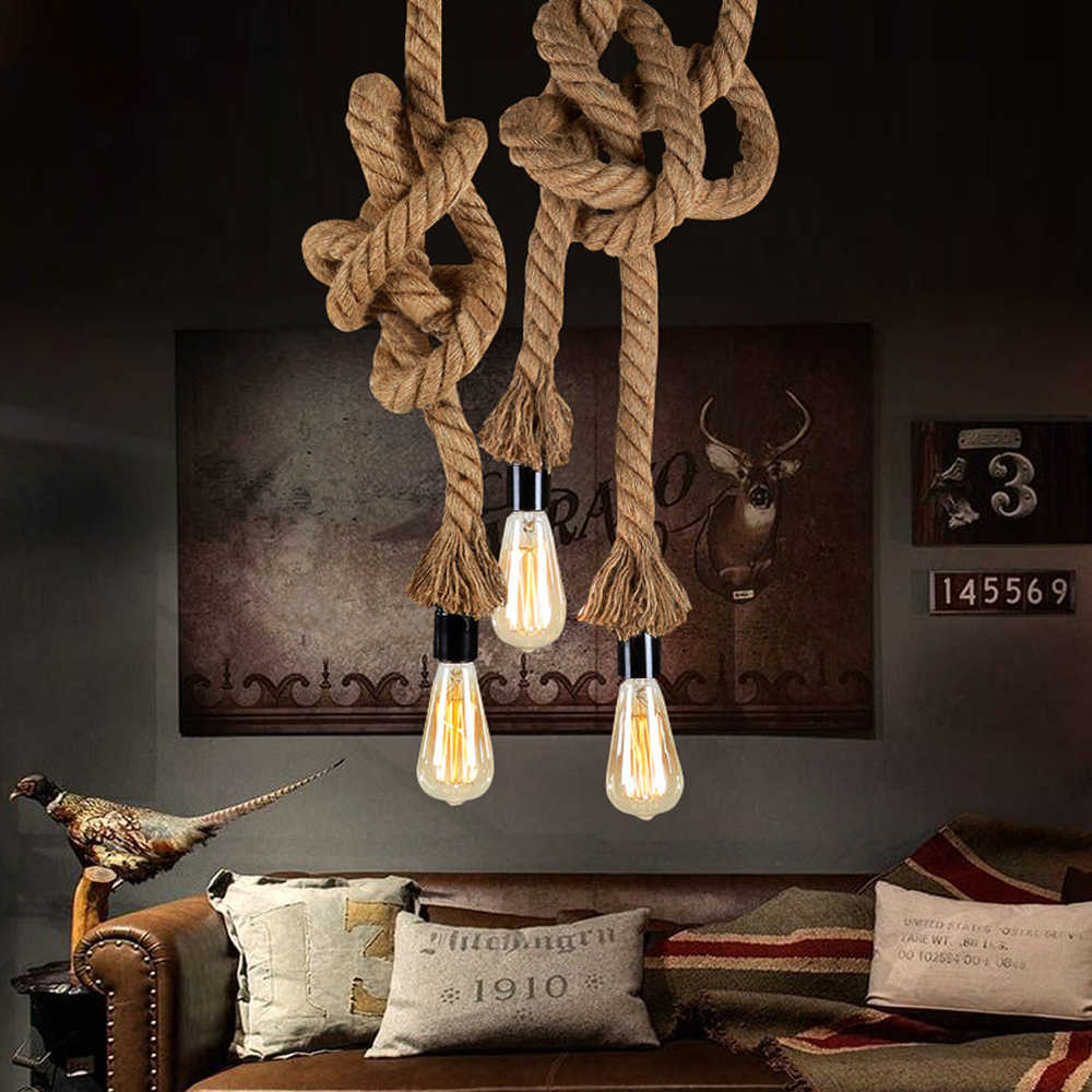 Vintage Hemp Rope E27 Loft Creative Personality Industrial Pendant Lamp for Restaurant Coffee Bar