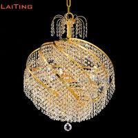 LAITING D55cm Gold Vintage โคมไฟคริสตัลเกลียว Luster ระงับแสงตกแต่งคริสต์มาสสำหรับ Home LT 71018 + จัดส่งฟรี-ใน โคมไฟระย้า จาก ไฟและระบบไฟ บน