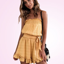 Summer 2019 Fashion Women Strapless Playsuit Striped Rompers Ruffles Jumpsuit Backless Overall Casual Beach Yellow Short Pant(China)