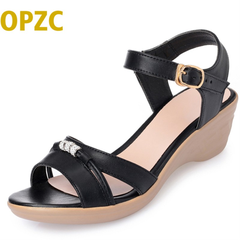 Summer mother microfiber leather female sandals 2018 new slope with non-slip middle-aged flat shoes is casual shoes women timetang mother sandals soft leather large size flat sandals summer casual comfortable non slip in the elderly women s shoes