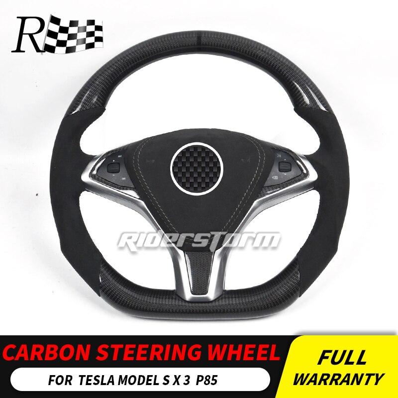 Pour volant TESLA fibre de carbone pour modèle S X 3 garnitures en cuir de fibre de carbone remplacer le bouton de commande du volant airbag