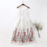 Colorful embroidered lace slip dress women's mesh bottoming camisole vest underskirt long full slip petticoat woman