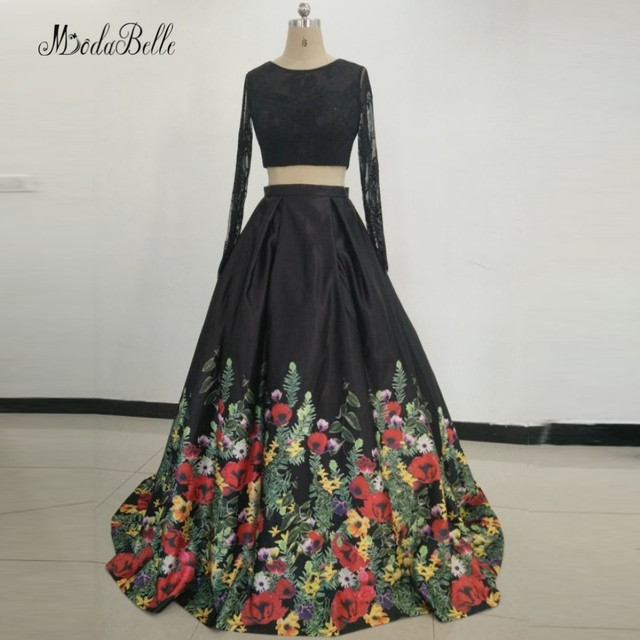 5c6001e23 Modabelle sexy negro manga larga Vestidos de noche 2018 impreso floral Encaje  dos piezas larga fiesta