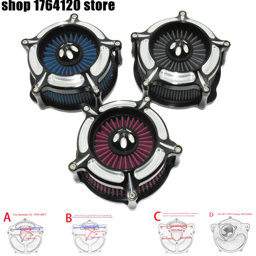 Motorcycle Turbine Air Filter Air Cleaner Gray Blue Red Element For Harley Sportster XL Dyna Softail