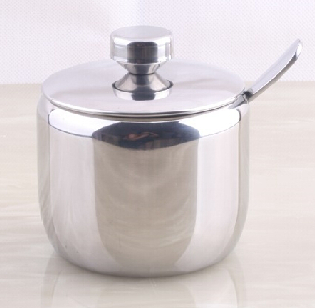 304 Stainless Steel Spice Jar Sauce Pot Salt Sugar Bowl Kitchen Utensils  Supplies Seasoning Box Caster