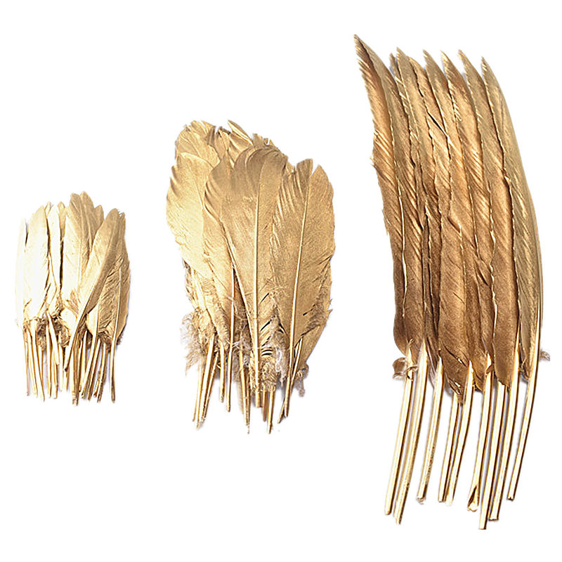 Wholesale 10-100-500pcs Gold Color Goose/Duck/Turkey Feathers DIY  Wedding Decoration Accessories Plumes DIY Feathers For Crafts