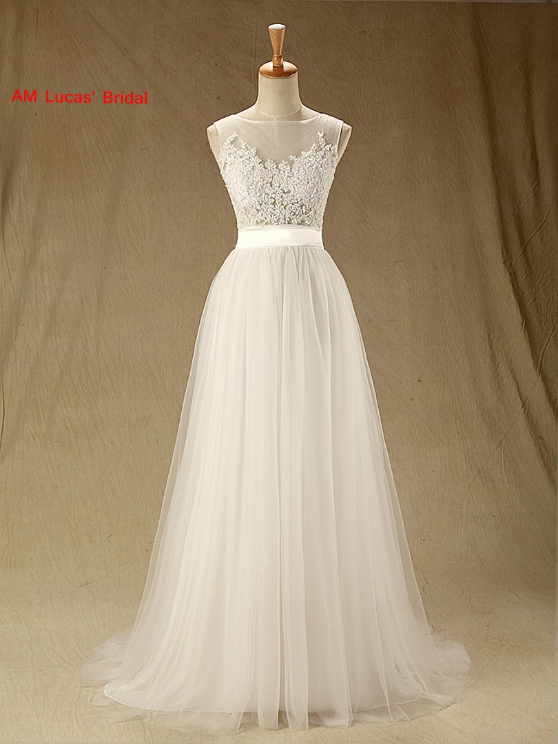 A Line Wedding Dresses Tulle Illusion Boat Neck Bridal Party Gowns
