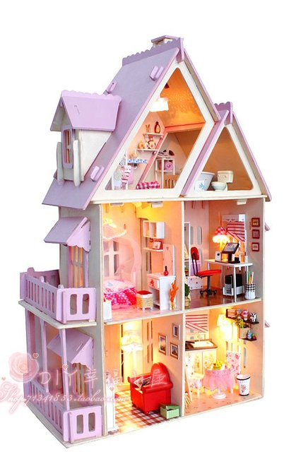 DIY LED light wood miniature coloured dollhouse Kit 6rooms Miniatures&furniture