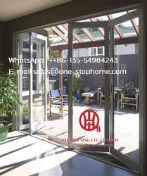 Алюминиевая Складная Дверь-гармошка стеклянная панель, водонепроницаемая веранда двойное остекление складная алюминиевая дверь