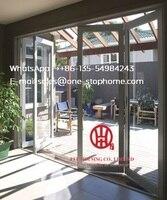 aluminum bi folding door Glass panel,Waterproof veranda double glazing folding aluminum door partition,Secure safety robust
