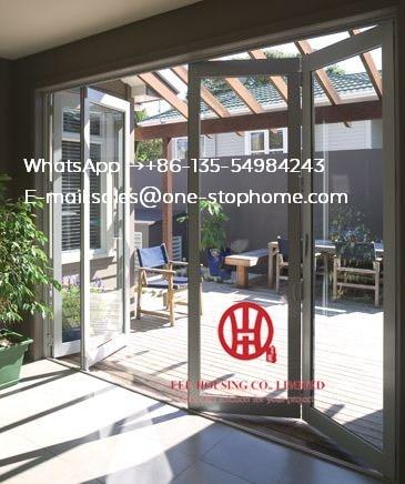 Panneau en verre de porte pliante en aluminium bi, véranda étanche double vitrage cloison de porte pliante en aluminium, sécurité sécurisée robuste