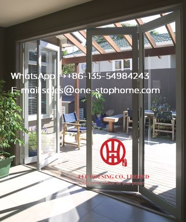 Aluminum Bi Folding Door Glass Panel,Waterproof Veranda Double Glazing Folding Aluminum Door Partition,Secure Safety Robust