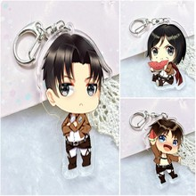 Anime Keychain Attack On Titan Eren/Mikasa Ackerman Doubleside Print Car Key Holder Kulcstarto Keyrings Keychain цена в Москве и Питере