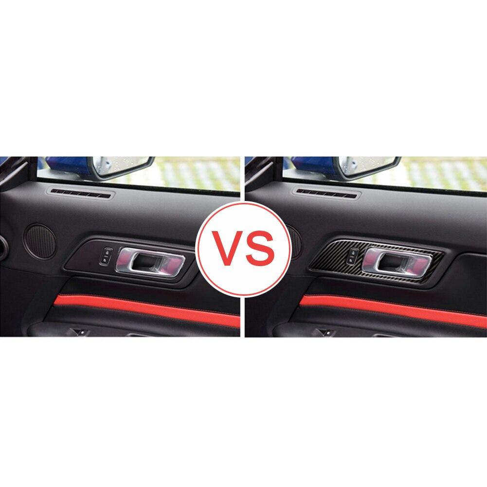 פורד 1 מסגרת ידית דלת המכונית סיב פחמן זוג Trim מדבקה עבור פורד מוסטנג 15-17 (4)