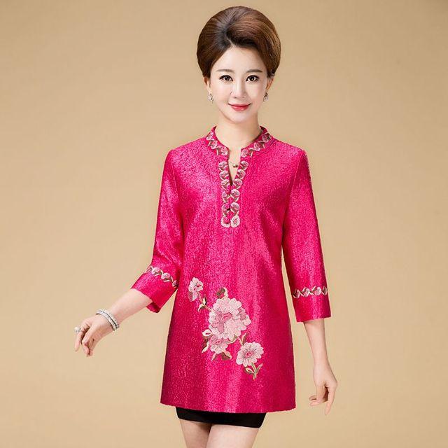 b1f1458555d Новая мода осень Cheongsam стиль Тан костюм топ Китайская традиционная  Женская одежда Топ винтажное платье Большие